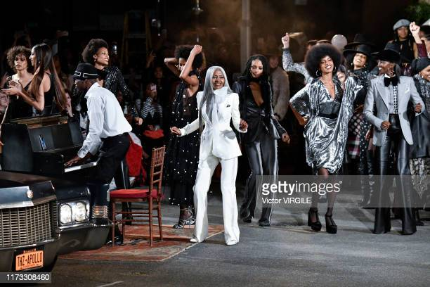 Model walks the runway at the Tommy Hilfiger Ready to Wear Fall/Winter 2019 fashion show during New York Fashion Week on September 08, 2019 in New...