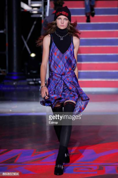 A model walks the runway at the Tommy Hilfiger show during London Fashion Week September 2017 on September 19 2017 in London England