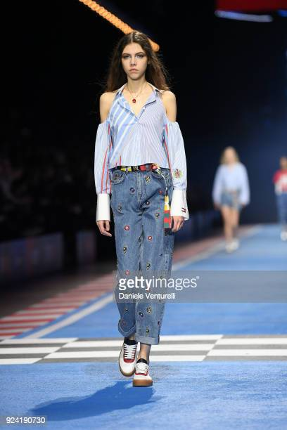 e42aef62 A model walks the runway at the Tommy Hilfiger show during Milan Fashion  Week Fall/