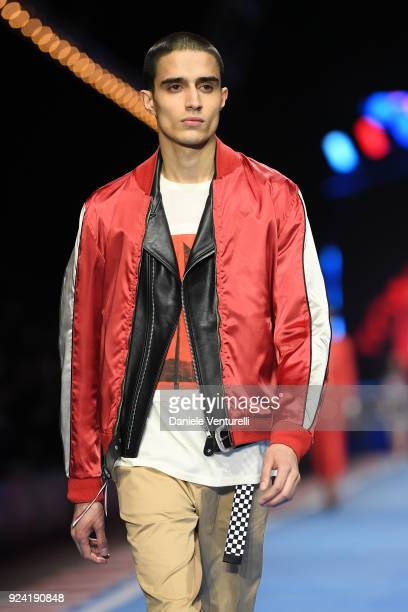 Model walks the runway at the Tommy Hilfiger show during Milan Fashion Week Fall/Winter 2018/19 on February 25, 2018 in Milan, Italy.