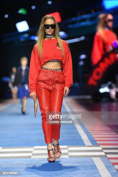A model walks the runway at the Tommy Hilfiger show during Milan Fashion Week Fall/Winter 2018/19 on February 25 2018 in Milan Italy