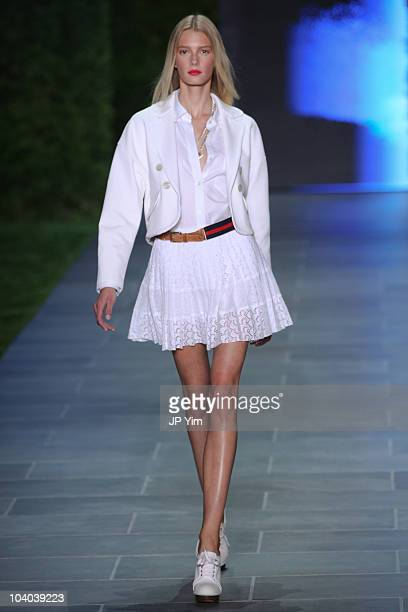 Model walks the runway at the Tommy Hilfiger Spring 2011 fashion show during Mercedes-Benz Fashion Week at The Theater at Lincoln Center on September...