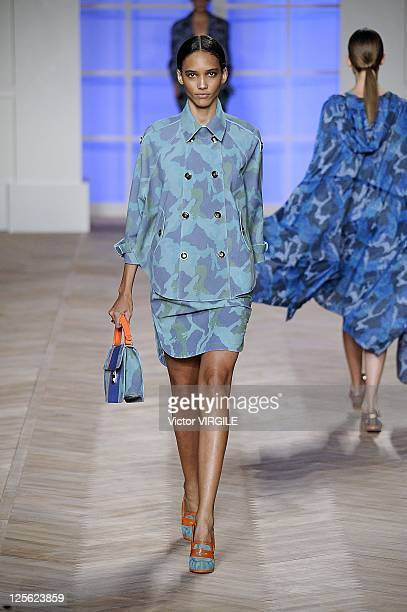 Model walks the runway at the Tommy Hilfiger Spring 2012 fashion show during Mercedes-Benz Fashion Week at The Theater at Lincoln Center on September...