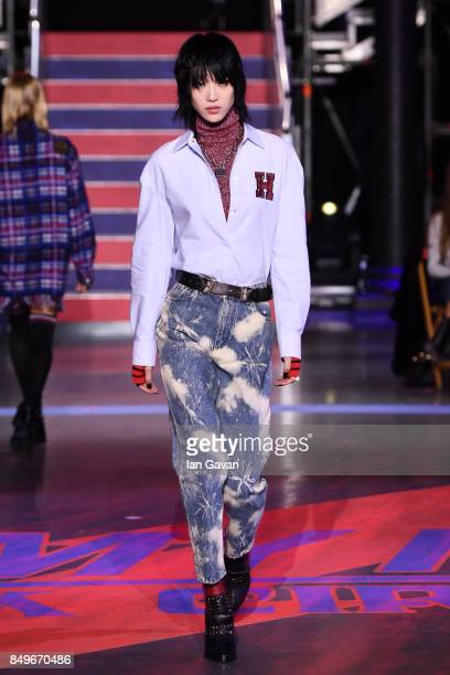 Model walks the runway at the Tommy Hilfiger TOMMYNOW Fall 2017 Show during London Fashion Week September 2017 at the Roundhouse on September 19,...