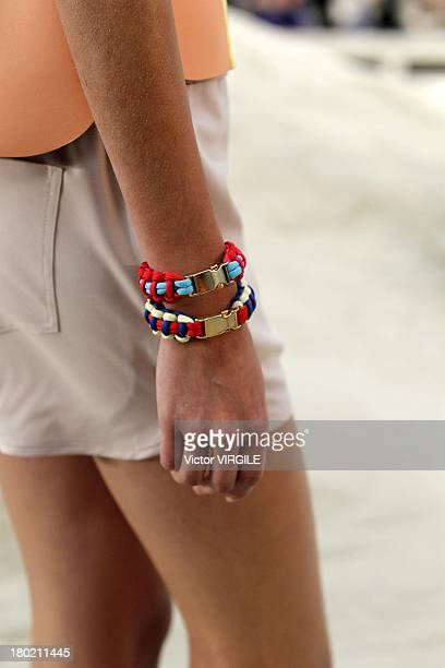 A model walks the runway at the Tommy Hilfiger Women's Ready to Wear fashion show during MercedesBenz Fashion Week Spring Summer 2014 at Pier 94 on...