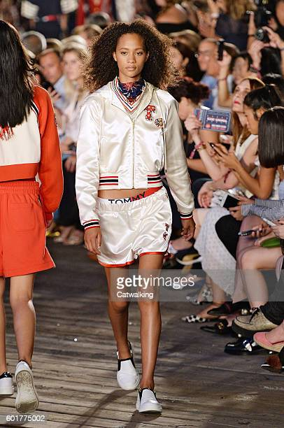 A model walks the runway at the TommyNow by Tommy Hilfiger Fall Winter 2016 fashion show during New York Fashion Week on September 9 2016 in New York...