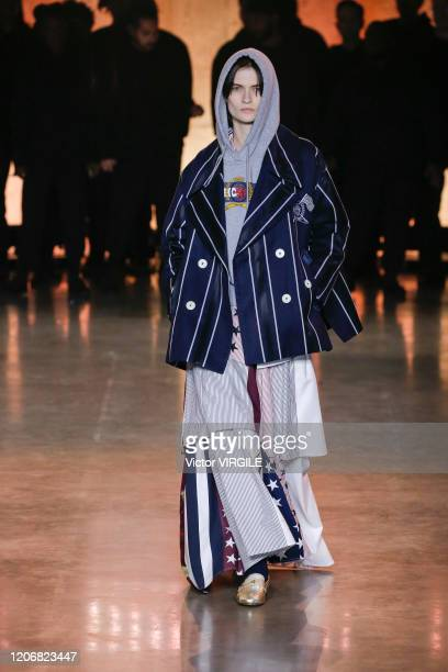 A model walks the runway at the TommyNow Ready to Wear Fall/Winter 20202021 fashion show during London Fashion Week on February 16 2020 in London...