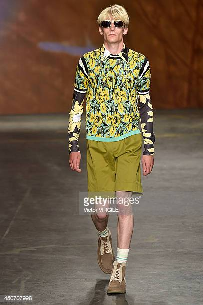 Model walks the runway at the TOPMAN Design show during the London Collections: Men SS15 on June 15, 2014 in London, England.