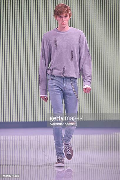 Model walks the runway at the Topman fashion show during the Bread & Butter by Zalando at arena Berlin on September 3, 2016 in Berlin, Germany.