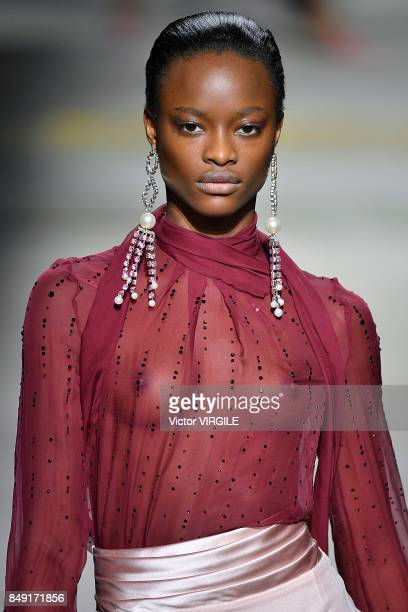 A model walks the runway at the TOPSHOP Ready to Wear Spring/Summer 2018 fashion show during London Fashion Week September 2017 on September 17 2017...