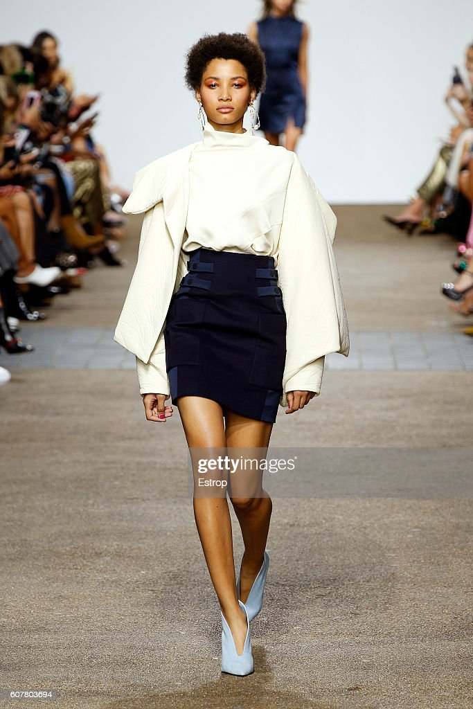 A model walks the runway at the Topshop Unique designed by Kate Phelan show during London Fashion Week Spring/Summer collections 2017 on September 18, 2016 in London, United Kingdom.