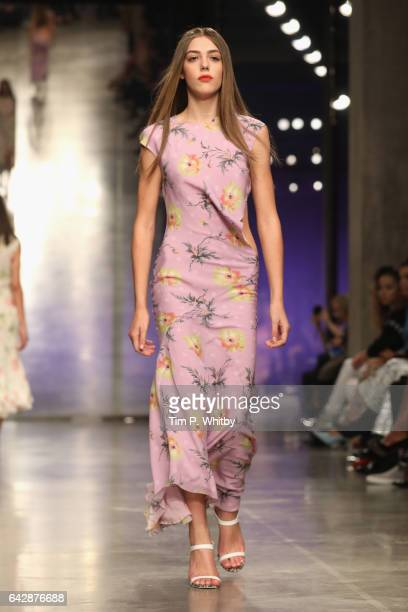 Model walks the runway at the Topshop Unique show during the London Fashion Week February 2017 collections on February 19, 2017 in London, England.