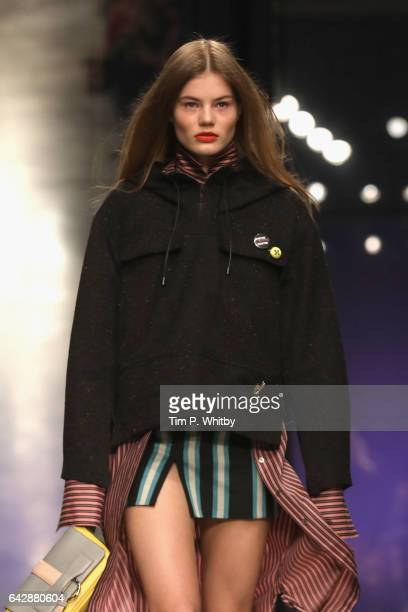 A model walks the runway at the Topshop Unique show during the London Fashion Week February 2017 collections on February 19 2017 in London England