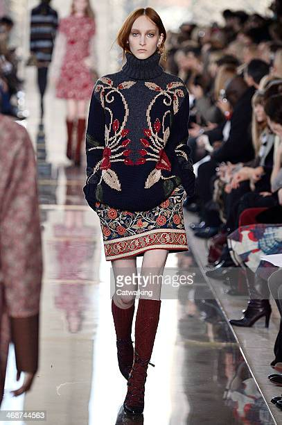 A model walks the runway at the Tory Burch Autumn Winter 2014 fashion show during New York Fashion Week on February 11 2014 in New York United States