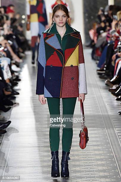 A model walks the runway at the Tory Burch Autumn Winter 2016 fashion show during New York Fashion Week on February 16 2016 in New York United States