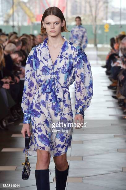 Model walks the runway at the Tory Burch Autumn Winter 2017 fashion show during New York Fashion Week on February 14, 2017 in New York, United States.