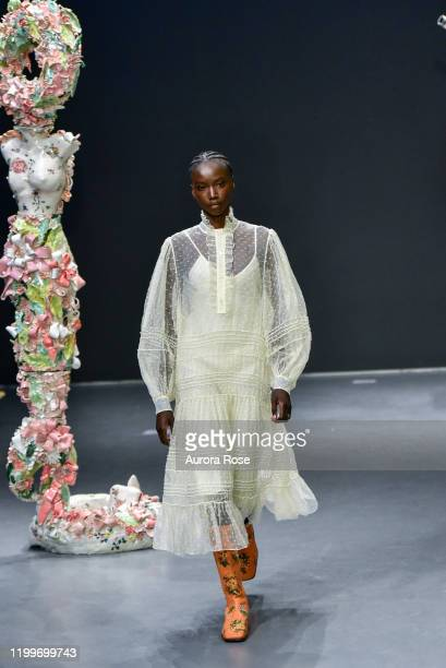 Model walks the runway at the Tory Burch AW/20 Fashion Show at Sotheby's on February 9, 2020 in New York City.