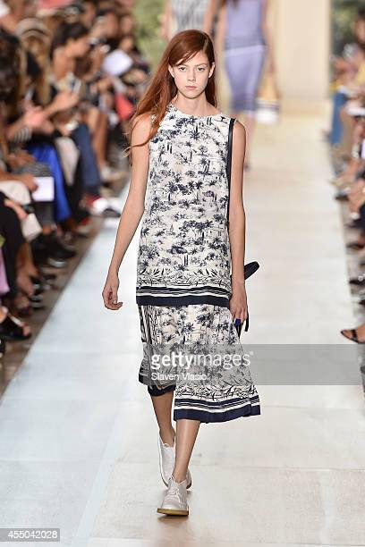 Model walks the runway at the Tory Burch fashion show during Mercedes-Benz Fashion Week Spring 2015 at Avery Fisher Hall at Lincoln Center for the...