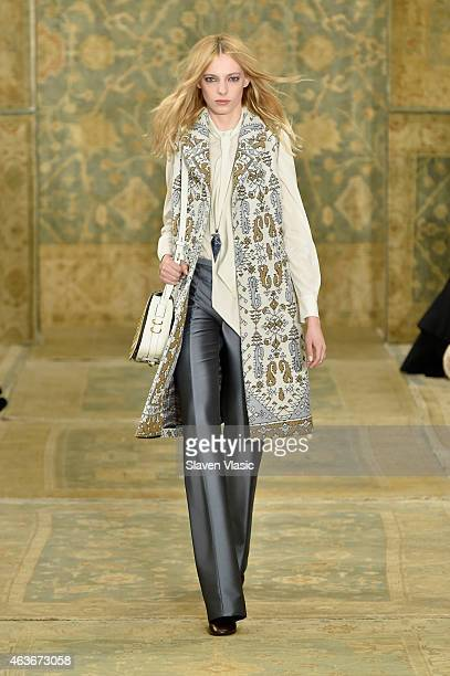 Model walks the runway at the Tory Burch fashion show during Mercedes-Benz Fashion Week Fall 2015 at 583 Park Avenue on February 17, 2015 in New York...