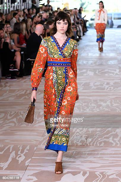 A model walks the runway at the Tory Burch fashion show during New York Fashion Week at The Whitney Museum of American Art on September 13 2016 in...