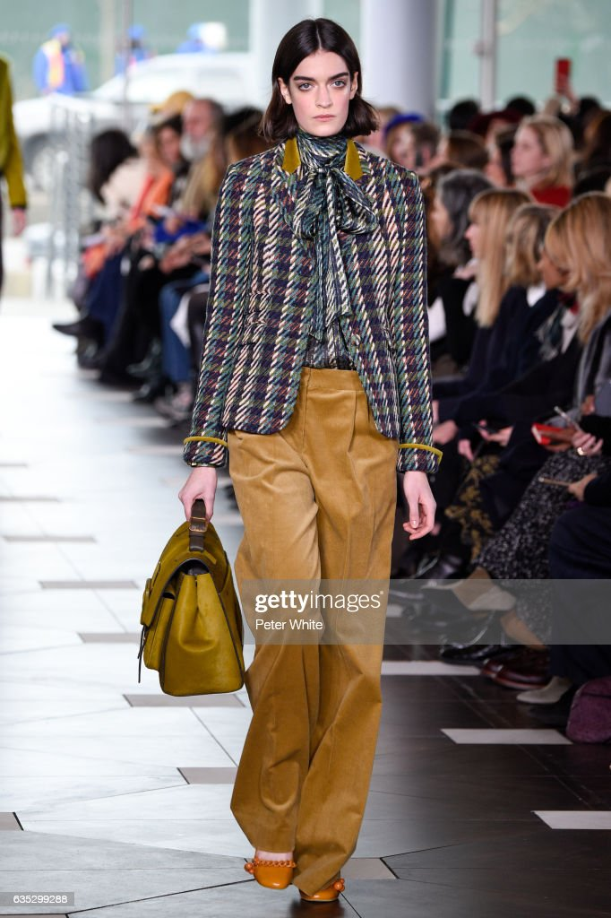 A model walks the runway at the Tory Burch FW17 Show during New York Fashion Week at at The Whitney Museum of American Art on February 14, 2017 in New York City.