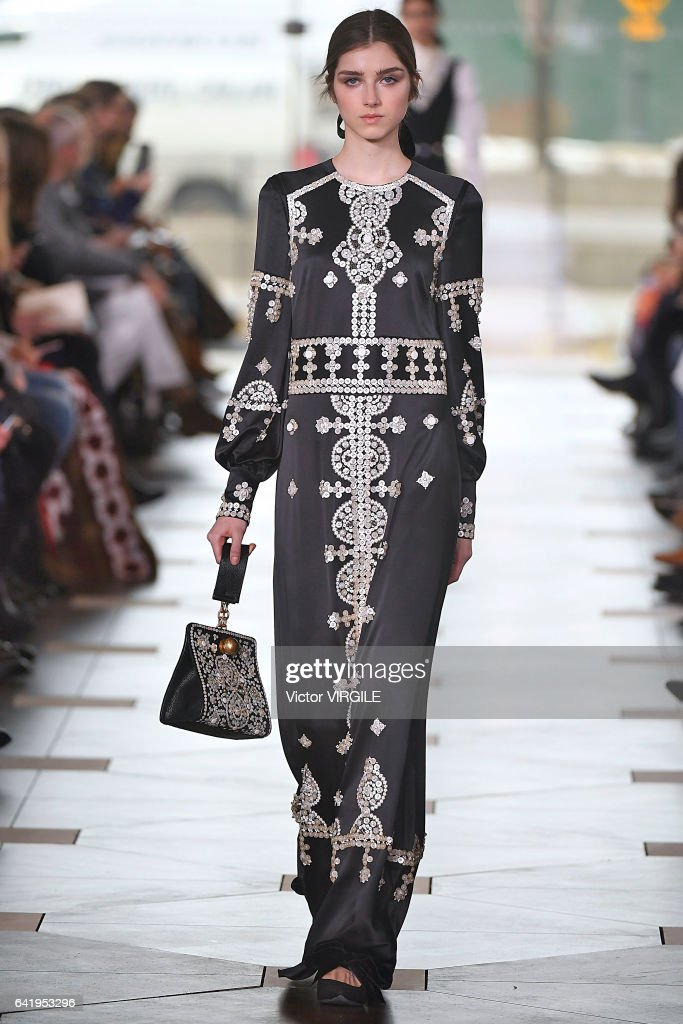 A model walks the runway at the Tory Burch Ready to Wear Fall Winter 2017-2018 fashion show during New York Fashion Week on February 14, 2017 in New York City.