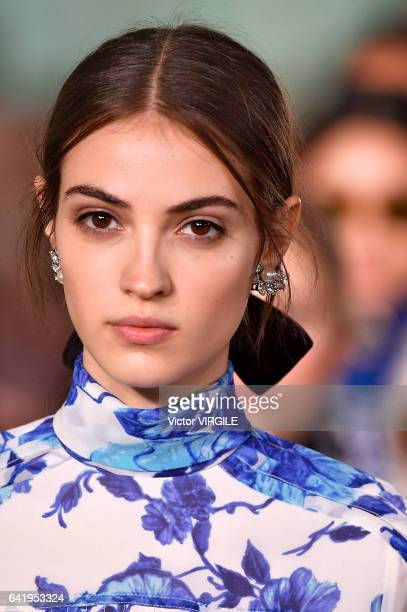 Model walks the runway at the Tory Burch Ready to Wear Fall Winter 2017-2018 fashion show during New York Fashion Week on February 14, 2017 in New...