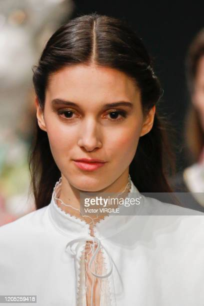 Model walks the runway at the Tory Burch Ready to Wear Fall/Winter 2020-2021 fashion show during New York Fashion Week on February 09, 2020 in New...