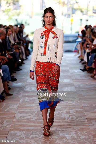 A model walks the runway at the Tory Burch show at The Whitney Museum of American Art on September 13 2016 in New York City