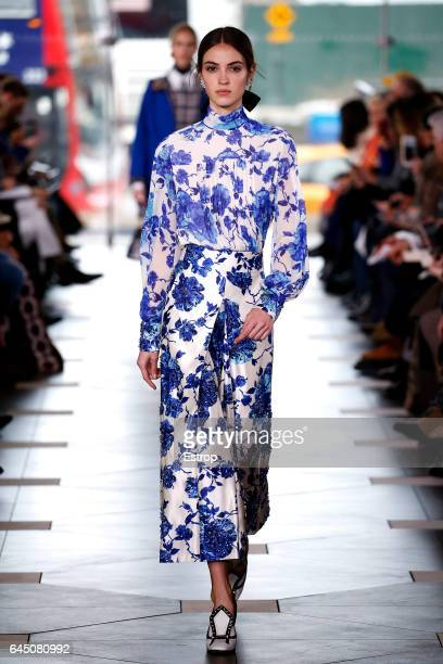 A model walks the runway at the Tory Burch show during the New York Fashion Week February 2017 collections on February 14 2017 in New York City