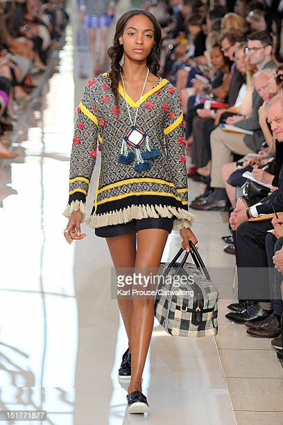 Model walks the runway at the Tory Burch Spring Summer 2013 fashion show during New York Fashion Week on September 11, 2012 in New York, United...