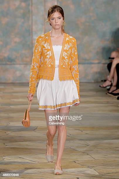 Model walks the runway at the Tory Burch Spring Summer 2016 fashion show during New York Fashion Week on September 15, 2015 in New York, United...