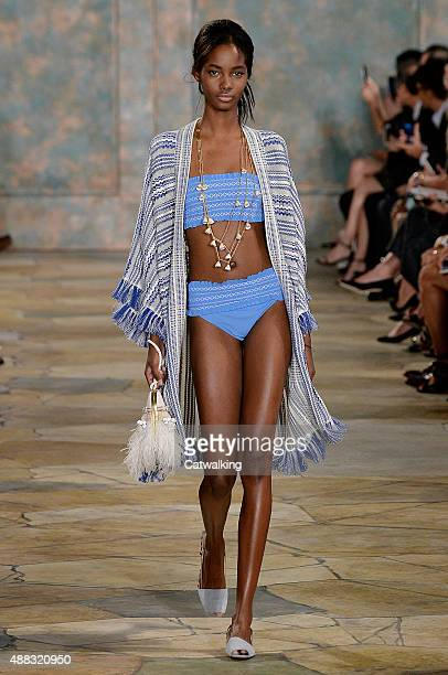 A model walks the runway at the Tory Burch Spring Summer 2016 fashion show during New York Fashion Week on September 15 2015 in New York United States