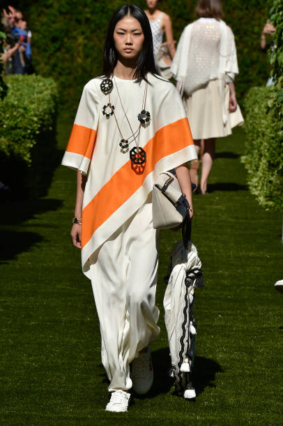 A model walks the runway at the Tory Burch Spring Summer 2018 fashion show  during New