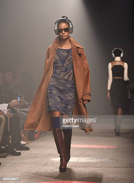 A model walks the runway at the Tracy Reese fashion show during MercedesBenz Fashion Week Fall 2015 at ArtBeam on February 15 2015 in New York City