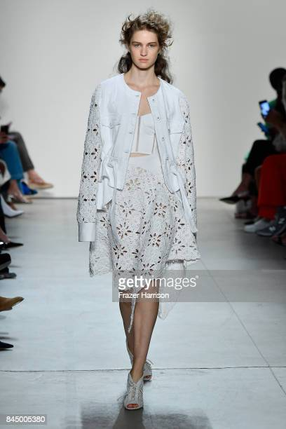 Model walks the runway at the TRESemme at Jonathan Simkhai fashion show during New York Fashion Week: The Shows at Gallery 1, Skylight Clarkson Sq on...
