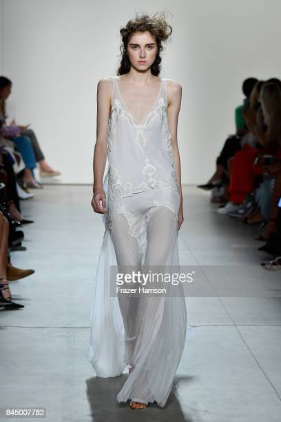 A model walks the runway at the TRESemme at Jonathan Simkhai fashion show during New York Fashion Week The Shows at Gallery 1 Skylight Clarkson Sq on...