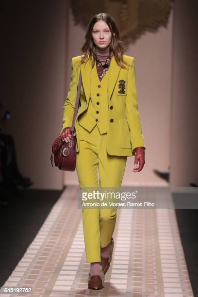 A model walks the runway at the Trussardi show during Milan Fashion Week Fall/Winter 2017/18 on February 26 2017 in Milan Italy