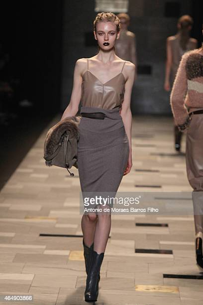 A model walks the runway at the Trussardi show during the Milan Fashion Week Autumn/Winter 2015 on March 1 2015 in Milan Italy