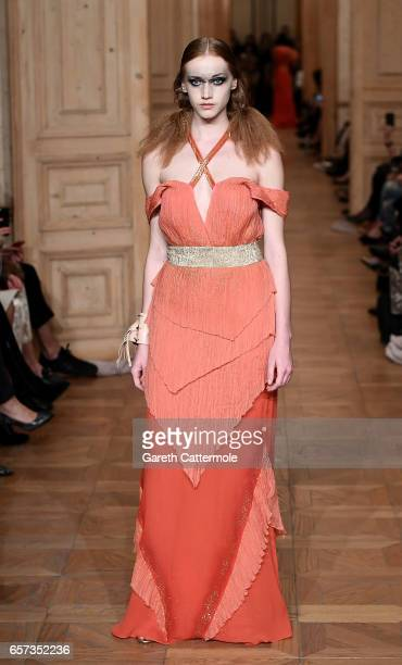 Model walks the runway at the Tuba Ergin show during Mercedes-Benz Istanbul Fashion Week March 2017 at Grand Pera on March 24, 2017 in Istanbul,...