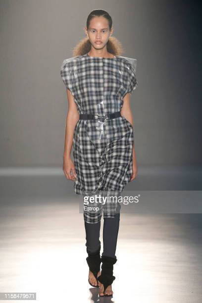 A model walks the runway at the Txell Miras show during Barcelona 080 Fashion Week Spring/Summer 2020 on June 26 2019 in Barcelona Spain