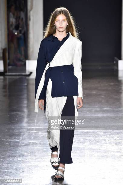 A model walks the runway at the Ujoh show during Milan Fashion Week Spring/Summer 2019 on September 23 2018 in Milan Italy