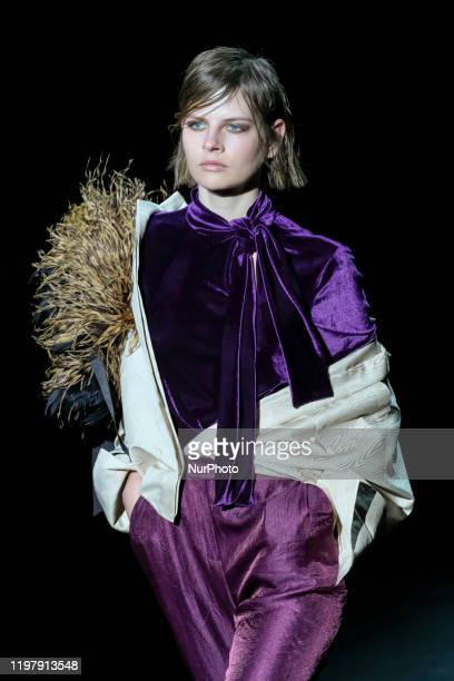 Model walks the runway at the ULISES MERIDA fashion show during Mercedes Benz Fashion Week Madrid Autumn/Winter 2020-21 on February 1, 2020 in...