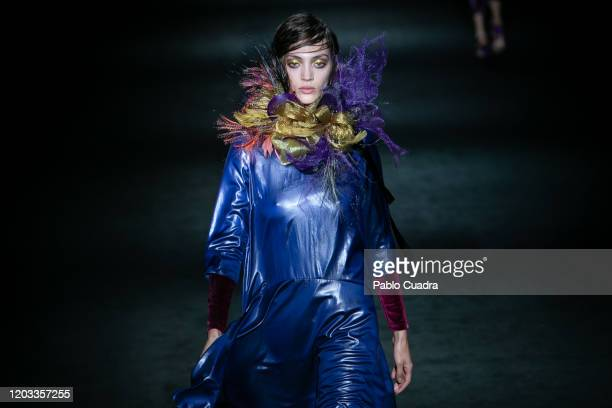 Model walks the runway at the Ulises Merida fashion show during Mercedes Benz Fashion Week Madrid Autumn/Winter 2020-21 at Ifema on February 01, 2020...
