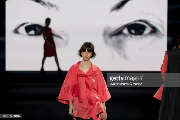 Model walks the runway at the Ulises Merida fashion show during Mercedes Benz Fashion Week Madrid April 2021 at Ifema on April 10, 2021 in Madrid,...