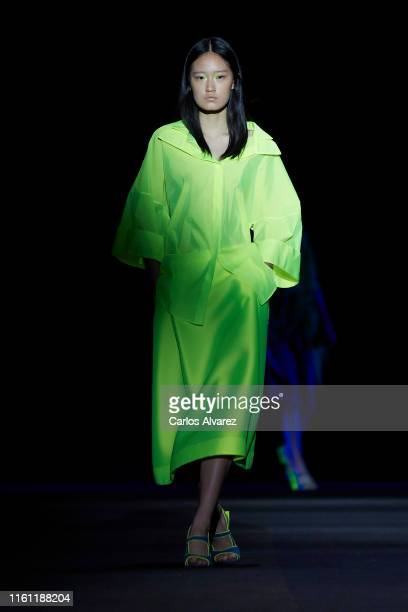 Model walks the runway at the Ulises Merida fashion show during the Mercedes Benz Fashion Week Spring/Summer 2020 at Ifema on July 10, 2019 in...