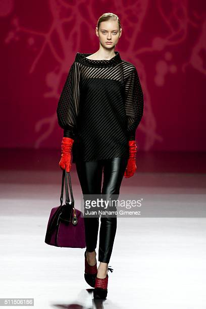 Model walks the runway at the Ulises Merida show during the Mercedes-Benz Madrid Fashion Week Autumn/Winter 2016/2017 at Ifema on February 21, 2016...