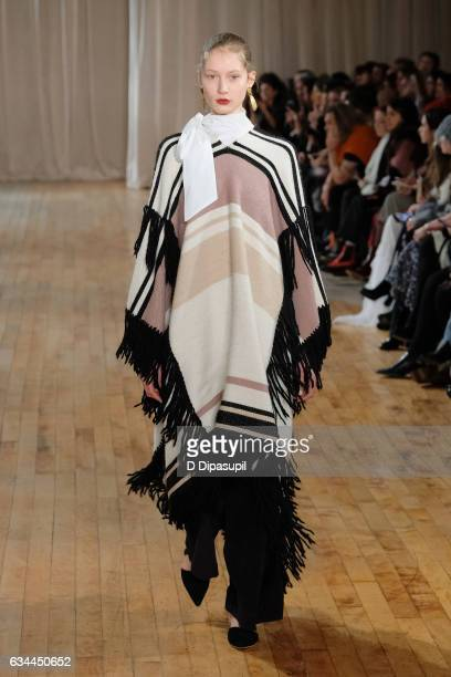 A model walks the runway at the Ulla Johnson fashion show during New York Fashion Week on February 9 2017 in New York City