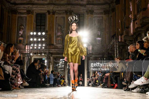 A model walks the runway at the Ultrachic show at Milan Fashion Week Autumn/Winter 2019/20 on February 25 2019 in Milan Italy