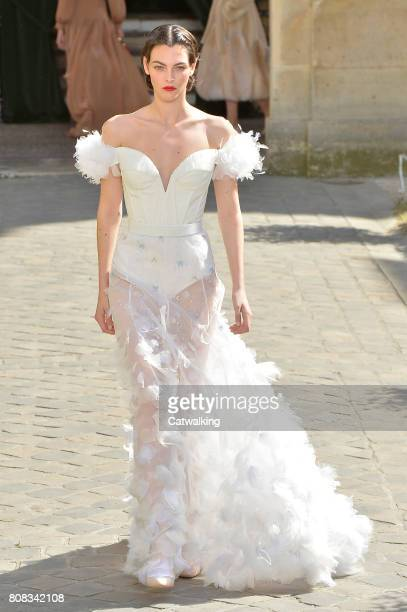 A model walks the runway at the Ulyana Sergeenko Autumn Winter 2017 fashion show during Paris Haute Couture Fashion Week on July 4 2017 in Paris...